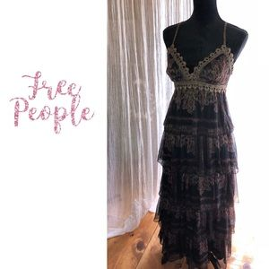Free People Beaded Paisley Layered Maxi Gown